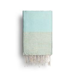 COOL-FOUTA Azul de Tiffany's con rayas color Lurex Dorado - Toalla de Hammam Fouta en tejido Panal de abeja 2x1m.
