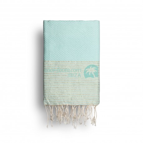 COOL-FOUTA Tiffany's Blue solid color with Golden Lurex stripes - Honeycomb Hammam Towel Fouta 2x1m.