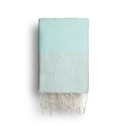COOL-FOUTA Azul de Tiffany's con rayas color Lurex Plateado - Toalla de Hammam Fouta en tejido Panal de abeja 2x1m.