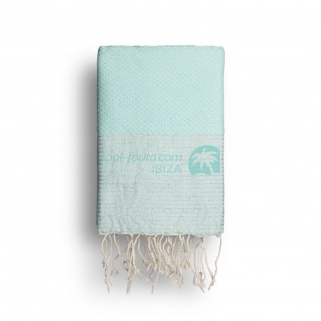 COOL-FOUTA Tiffany's Blue solid color with Silver Lurex stripes - Honeycomb Hammam Towel Fouta 2x1m.