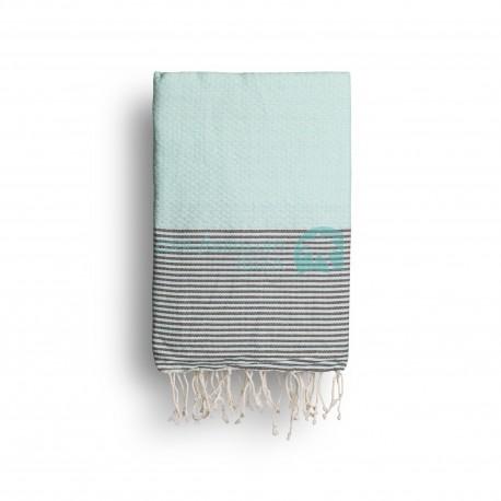 COOL-FOUTA Azul de Tiffany's con rayas color Chocolate - Toalla de Hammam Fouta en tejido Panal de abeja 2x1m.