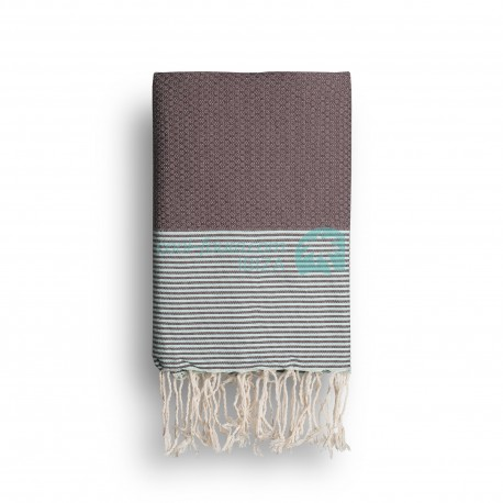 COOL-FOUTA Chocolate solid color with Tiffany's Blue stripes - Honeycomb Hammam Towel Fouta 2x1m.