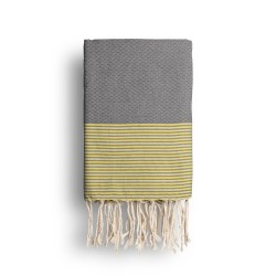 COOL-FOUTA Ultimate Gray solid color with Illuminating Yellow stripes - Honeycomb Hammam Towel Fouta 2x1m.