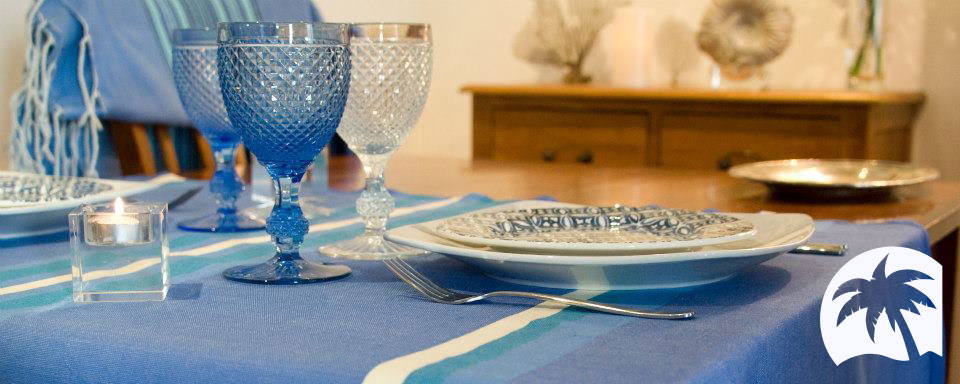 Cool-Fouta hammam towel as tablecloth